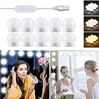 Lampe de Miroir LED Style Hollywood 10 Ampoules, Câbles parfaitement Cachés, 3 Couleurs et 10 Intensités, Lumière Miroir…