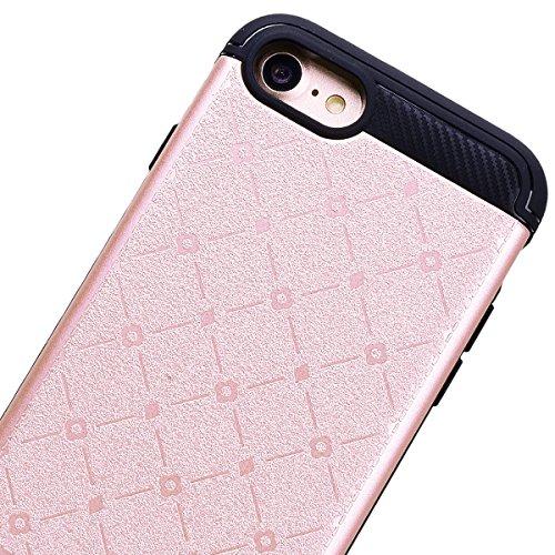 """VemMore Coque pour iPhone 7 4.7"""" Silicone Souple Flexible avec Bumper Carré et Fleur Motif Design Case Housse Cover pour iPhone 7 ( Or Rose ) Or Rose"""