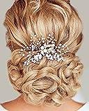 Chicer Wedding Hair Comb Crystal Bridal Headpiece Accessories for Bride Bridesmaids(Silver)