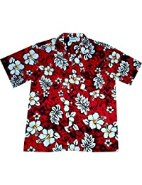 "Chemise Hawaienne Homme ""Classic Flowers (red)"" 100% coton, taille M – 3XL, rouge"