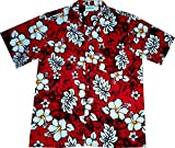 "Hawaiihemd / Hawaiishirt ""Classic Flowers (red)"", 100% Baumwolle, Größe XL"