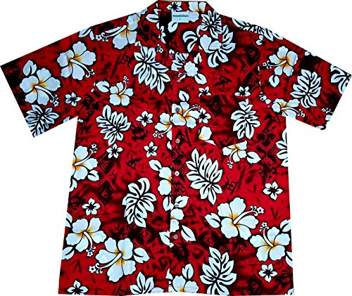 Hawaiian-Shirt-Classic-Flowers-red-100-cotton-size-M--3XL