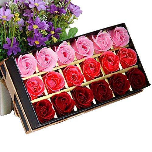 Tininna 18 pz creativo regalo regali di natale fiore del sapone artificiali rose fiori di sapone per la festa di compleanno san valentino natale decorazioni rosso