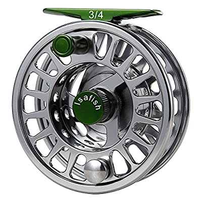 Isafish Fly Fishing Reel Large Arbor with CNC-machined Aluminum Alloy Body Stainless Steel Ball Bearings 3/4, 5/6, 7/8 Weights for Saltwater Freshwater Fly Reel from Isafish