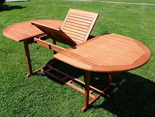 Edle Gartengarnitur Terassengarnitur Gartenset Gartenmöbel Holz Eukalyptus mit Ausziehtisch 140-180x100cm + 8 Hochlehner 7-fach verstellbar 'LIMA180-6EU-SET' von AS-S - 5