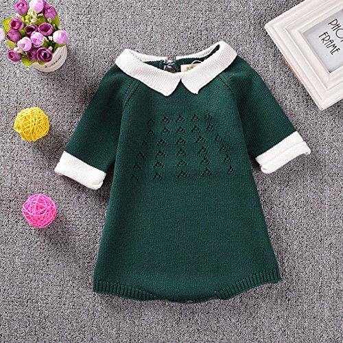 Zooarts Kid niñas de punto ropa Body 3/4 Sleeve Pelele niño jersey vestido niños vestidos (verde), Verde, 80 (12-18 Months)