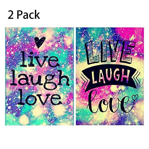 Funny 2er-Pack 5D DIY Diamant Malen nach Zahlen Kits für Erwachsene Anfänger Full Drill Live Laugh Love Stickerei Bilder für Zuhause Wohnzimmer Wand Dekoration Mixed A - Live Kit
