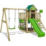 FATMOOSE Parque infantil de madera JazzyJungle con columpio y tobogán manzana verde, Casa de juegos de jardín con arenero y e