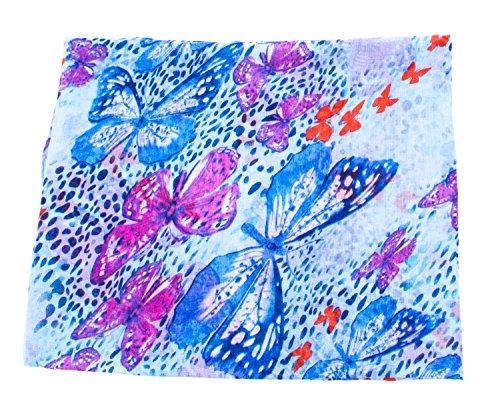 écharpe tube foulard femme imprimé papillon en plusieurs couleurs foulard bleu violet
