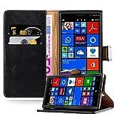 Coque Nokia Lumia 830 en NOIR DE JAIS de Cadorabo (Design LUXURY) Etui de Protection Complète avec Rabat à Clapet et Stand Horizontal Pratique en Simili-Cuir – Poche Protective Folio Housse Portefeuille avec Fente pour Cartes et Fermoire Magnétique - Fl