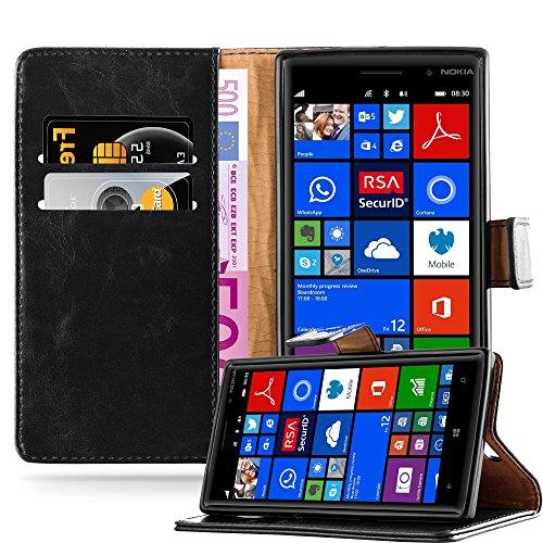 Cadorabo Hülle für Nokia Lumia 830 - Hülle in Graphit SCHWARZ – Handyhülle im Luxury Design mit Kartenfach und Standfunktion - Case Cover Schutzhülle Etui Tasche Book