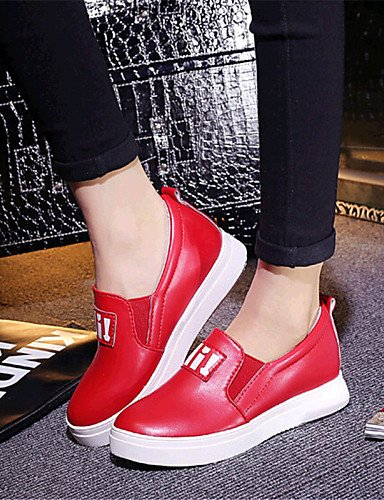 ZQ gyht Scarpe Donna-Mocassini-Tempo libero / Casual-Zeppe-Zeppa-Finta pelle-Nero / Rosso / Bianco , red-us8 / eu39 / uk6 / cn39 , red-us8 / eu39 / uk6 / cn39 white-us7.5 / eu38 / uk5.5 / cn38