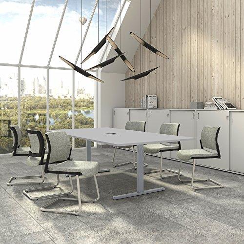 Weber Büro EASY Konferenztisch 240x120 cm Lichtgrau mit ELEKTRIFIZIERUNG Besprechungstisch Tisch,...