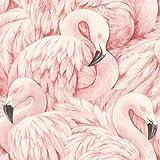 rasch Tapete 803204 aus der Kollektion Lucy in the Sky - Vliestapete in Rosa mit Flamingo-Design - 10,05m x 53cm (L x B)