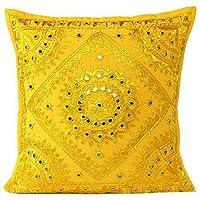 Hemsi-77 Indian - 16X16 Mirror Embroidered Decorative Sofa Throw Pillow Cushion Cover Boho Bohemia (Blue) (Yellow)