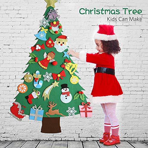 Regali Di Natale Fai Da Te Per Bambini.Meeqee Albero Di Natale In Feltro Fai Da Te Con Ornamenti Per I Bambini Regali Di Natale Con 28 Pezzi Decorazioni Da Parete Con Decori Di Capodanno