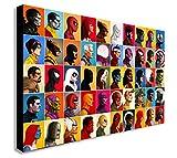 Impression sur toile Marvel Comics, collage de portraits, plusieurs dimensions disponibles, Bois dense, A1 32x24