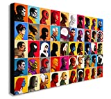 Marvel Comics-Collage Head-Shot-Leinwand Kunstdruck., holz, A1 32x24