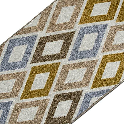 Teppichläufer mit modernem Retro Design | hochwertige Meterware, gekettelt | Kurzflor Teppich Läufer | Küchenläufer, Flurläufer (67x300 cm)