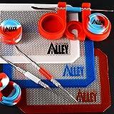 Carving Werkzeug (Silber) [3] + Antihaft-Rot/Weiß/Blau Rechteck Matte [3] + Wachs Gläser Container von Tie Dye Farben [3] + Rot Container Halter [1] [USA Edition]