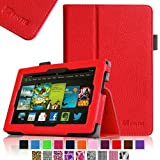 """Fintie Kindle Fire HD 7"""" (2013 Old Model) Slim Fit Folio Case with Auto Sleep / Wake Feature (will only fit Amazon Kindle Fire HD 7, Previous Generation - 3rd), Red"""