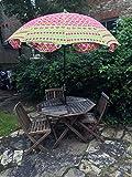 Bazzaree Rosa & grüner Sonnenschirm, manuell Bestickt mit indischem Muster, Outdoor-Sonnenschirm für Terrasse, 182,9cm.
