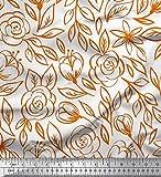 Soimoi Orange Baumwoll-Popeline Stoff Blätter & Rose Blumen- Stoff drucken Meter 56 Zoll breit