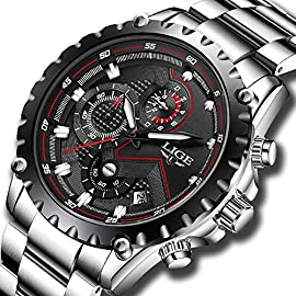 Mens Waterproof Sport Watches Men Luxury Brand LIGE Business Fashion Analogue Quartz Watch Man Full Steel Black Wristwatch