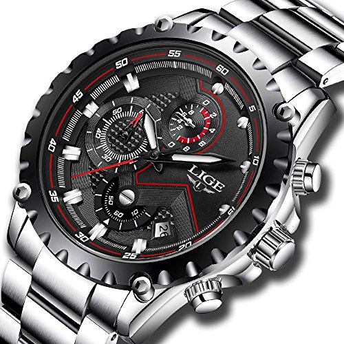 - 61bJNhTJJML - Mens Waterproof Sport Watches Men Luxury Brand LIGE Business Fashion Analogue Quartz Watch Man Full Steel Black Wristwatch