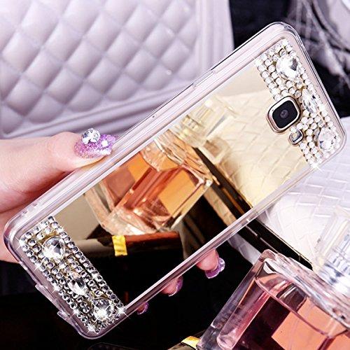 Custodia Cover per Samsung Galaxy A5 2016, Ukayfe Cover Specchio Lusso Placcatura Lucido di Cristallo di Scintillio Strass Diamante Glitter Caso per iPhone 7 Plus[Crystal TPU] [Shock-Absorption] Prote Champagne oro1#