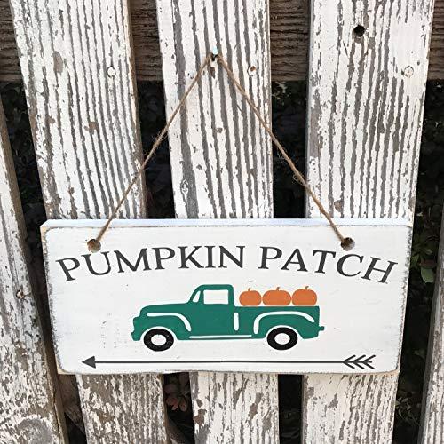 Bair89Pulla Kürbis Truck Hand Holzschild Herbstdeko Kürbis Patch Schild vorne Veranda Dekor Outdoor Schild Urlaub Deko Halloween Schild