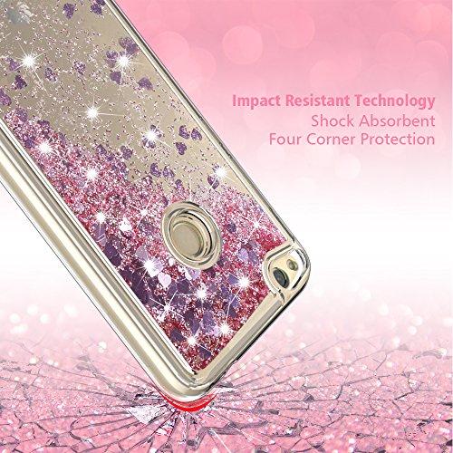 Huawei P8 Lite 2017 Custodia,LK [sottile] 3D Glitter Liquido Brillantini Lucido cuore scintillante Carino lusso Creativo scintillante Cristallo Cover ...