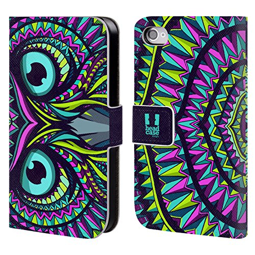 Head Case Designs Pferd Aztekische Tiergesichter Brieftasche Handyhülle aus Leder für Apple iPhone 4 / 4S Eule