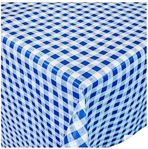 Ilkadim Wachstuch Tischdecke 140cm Rund Blau weiß Kariert, abwaschbar (Ausgestattet Vinyl Runde Tischdecke)