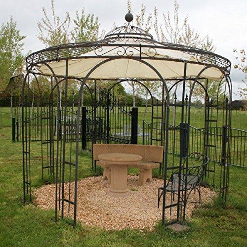 Gartenlaube, Garten Pavillon, Rosenpavillon, Pavillon Eisen, Pavillon Metall Rund Holland Ø 260 cm (Eisenblank)
