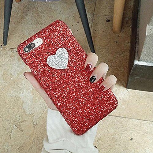 BING Für iPhone 7 Plus Herzform Glitter Powder Hard Schutzmaßnahmen zurück Fall Fall BING ( Color : Black ) Red