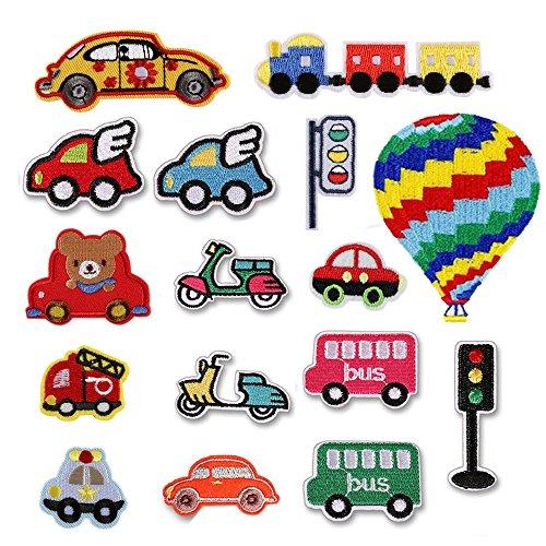 16PCS auto/Bus/Moto/semaforo/Fire Truck/Train/PLANE Iron On patch for Crafts jeans abbigliamento bambini cucire abito di giacca zaino sciarpa cuscino applique