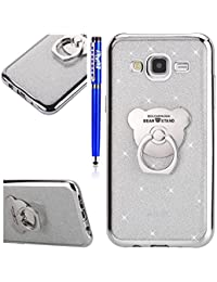 Samsung Galaxy J5 2015 Case,Samsung Galaxy J5 2015 Cover,Samsung Galaxy J5 2015 Glitter Case,EUWLY [Cute Bear 360 Degree Rotating Ring Stand Holder] Protective Rubber Case for Samsung Galaxy J5 2015 Flexible Soft Gel Silicone Case Cover Anti-Shock Anti-Scratch Ultra-Thin Slim Premium Soft Rubber Silicone TPU Protective Sleeve Case for Samsung Galaxy J5 2015 + 1 x Stylus Pen,Silver