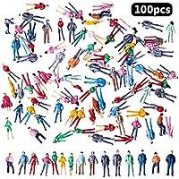 BESTZY 100pcs Mix Pintado Cifras Pasajeros Tren Modelo Personas Park Street Para Maqueta Ferroviaria Trenes Scenescapes Plataforma Pasajeros Figuras Miniatura(1:100)