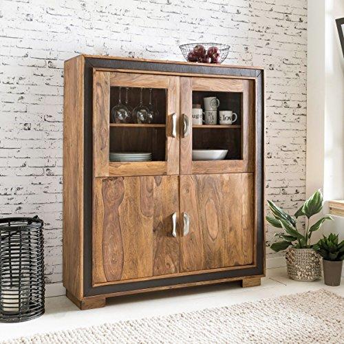 FineBuy Design Highboard KARNA Sheesham Massivholz mit Kunstleder 120x35x140 cm   Vitrine mit Glastüren   Kleiner Schrank im rustikalen Landhausstil
