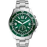 Fossil Hybrid Smartwatch FB-02 con quadrante verde e bracciale in acciaio inossidabile color argento da uomo FTW1308
