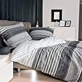 Janine Mako Satin Bettwäsche 155 x 200 cm Satin Bettbezug grau Palermo Bettwäsche grau aus Baumwolle
