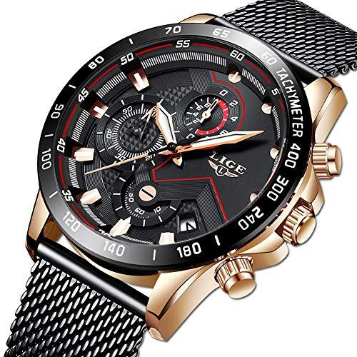LIGE Herren Uhren wasserdichte Edelstahl Analoge Quarz Armbanduhr Männer Schwarz Herren Sport Militäruhr Chronograph mit Milanaise-Armband