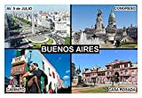 IMÁN PARA NEVERA - RECUERDO de BUENOS AIRES ARGENTINA 9cm x 6cm Jumbo
