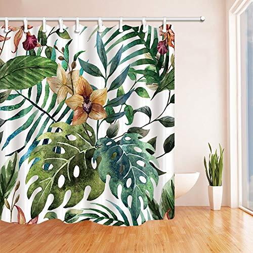 GoHEBE Blumen Decor Hibiskus in tropischen Fensterblätter und Palm Blätter Polyester-Schimmelresistent-Vorhänge Dusche Badezimmer Duschvorhang mit Ringen, 180,3x 180,3cm grün (Palm-baum-dusche Vorhang Ringe)