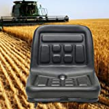 Universal Slidable Tractor Seat,PU Black Waterproof Adjustable 140mm Suspension Seat W//Drain Hole for Dumper Forklift Mower Plant Digger,Replacement Seat 36x35x30cm