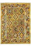 CarpetFine: Kelim Afghan Teppich 250x345 Gelb,Grün,Rot - Geometrisch