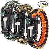 Paracord braccialetto set contiene 3 per la sopravvivenza...
