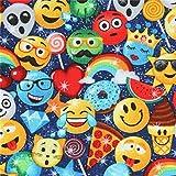 Timeless Treasures Dunkelblauer Stoff mit Emoji