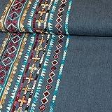 Jeansstoff einseitige Bordüre Ethnomuster llila Modestoffe